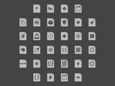 File Type Icons in Dark dark flat outline filetype icon file