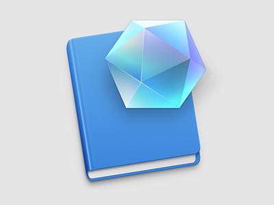 Application Icon crystal blue gem workbook book document osx macos icon