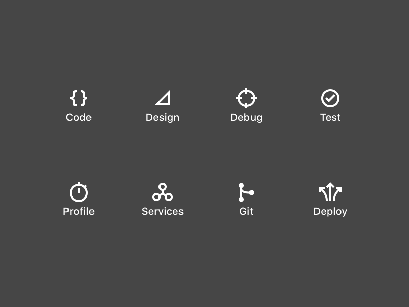 Persona Icons deploy git service profile test debug design code glyph flat icon dark