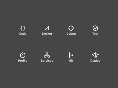 Persona Icons deploy git service profile test debug design code glyph flat icon dark