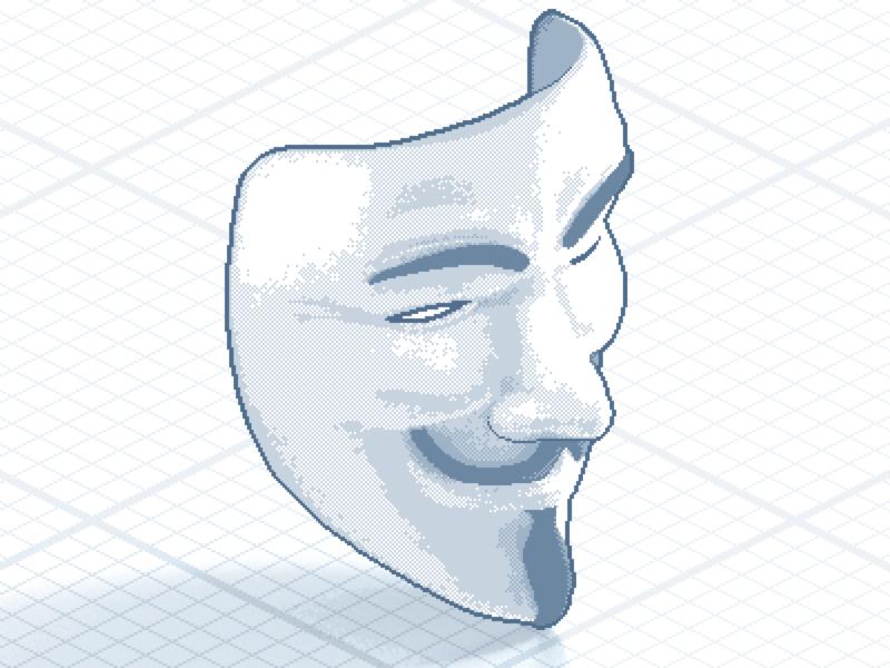 DDoS mask sprite pixelart pixelated pixel isometric iso icon