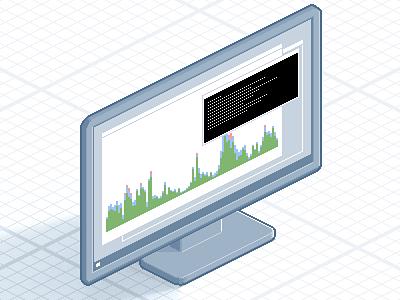 Monitoring monitor desktop window graph chart screen iso isometric pixelated pixel pixelart icon sprite