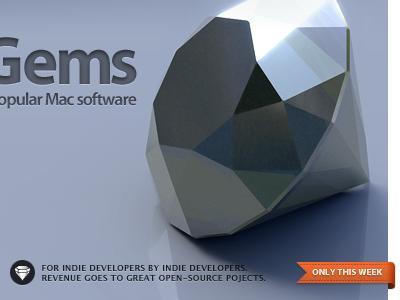 Gems 3d render glossy gem shadow reflection flag badge blue splash