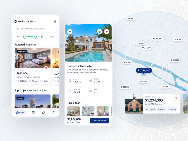 Real Estate Mobile App home screen real estate filter search house apartment renting property realestate maps detail page cards ui mobile ui interface design app design mobile app app