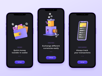 Onboarding For Money Transfer App fintech colour dark ui money transfer 3d modeling 3d onboarding concept ui detail page cards app design mobile ui interface design app mobile app