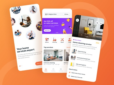 Home Services App cleaning service health service repair service beauty service home service ux onboarding icons orange home page detail page concept ui cards app design mobile ui interface design app mobile app