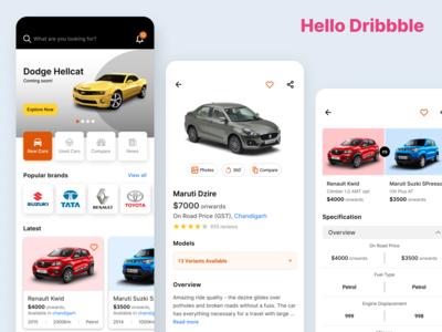 Hello Dribbble - Online Car Portal Mobile App