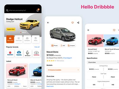 Hello Dribbble - Online Car Portal Mobile App cards detail view home app design specs concept photos mobile ui compare mobile app detail page interface car photo debut typography design app ux ui