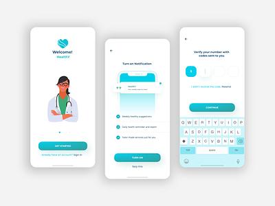 HealthY App UI design brand identity promotion advertising android adobe xd user experience user interface illustration icon design medical health app app design branding ui