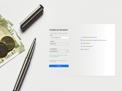 Sign Up- Create an account graphic design create new account creation of account sign in signup login screens onboarding create an account typography ux vector design user interface adobe xd ui illustration branding