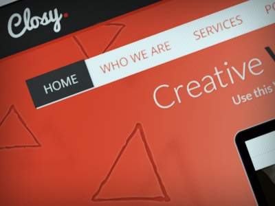 Closy. webdesign red header menu