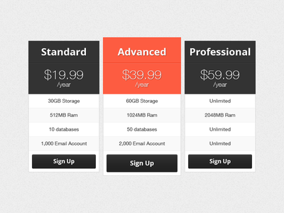 Pricing Table table pricing freebie ui red dark free price psd button