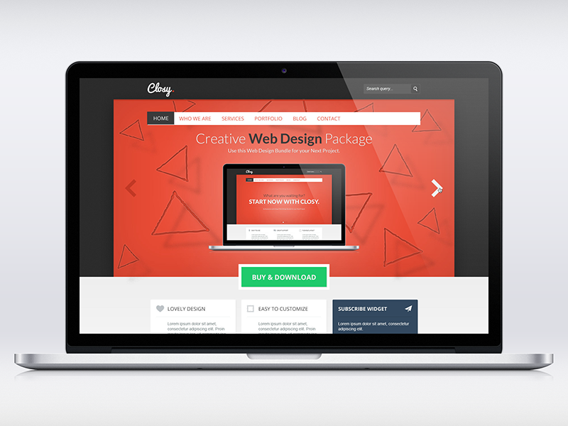 Closy. Psd Template webdesign ui website corporate business design web layout clean red