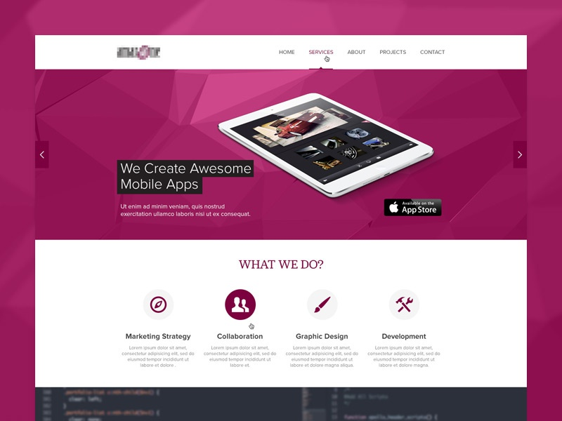 One Page Corporate Website one page clean layout web design business corporate website ui webdesign purple