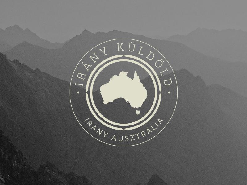 Destination Australia logo emblem travel brand australia beige background image logotype adventure