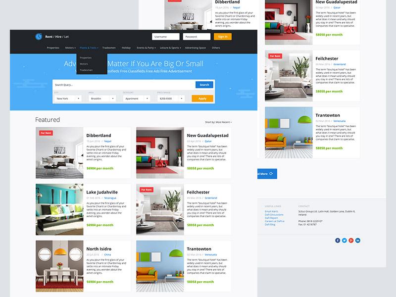 Rent Site website web ui hire clouds blue search dropdown sketch rent webdesign