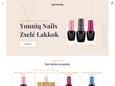 Youniq Nails Website ecommerce webshop hero nails website webdesign web ui sketch gold black