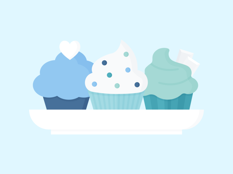 Day 129 - 366 Days Illustration Challenge - MintSwift sweets muffin sprinkles heart white chocolate chocolate icing cupcakes birthday plate cupcake icon design vector art digital illustration illustration vector illustration flat illustration flatdesign flat design mintswift