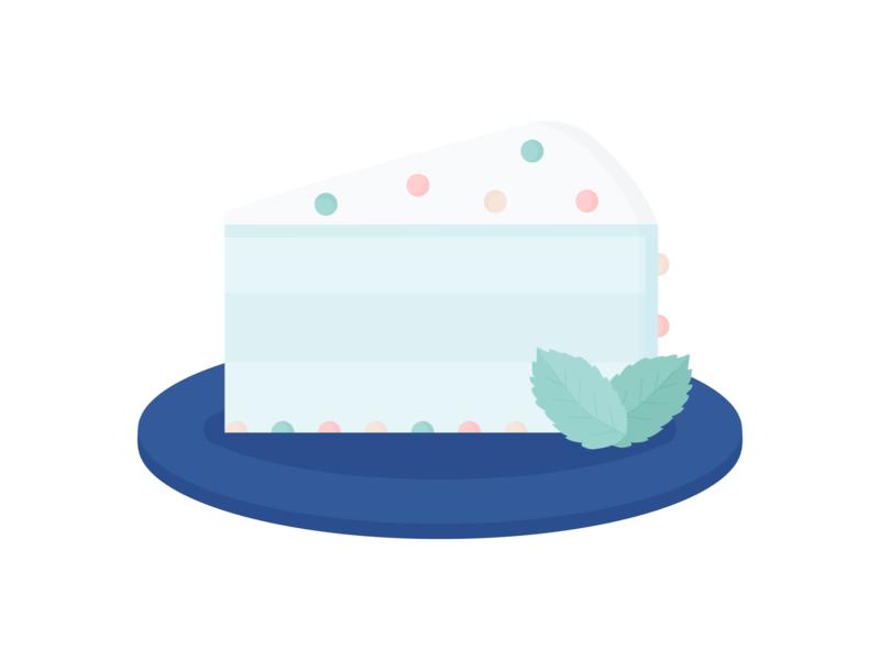 Day 150 - 366 Days Illustration Challenge - MintSwift food illustration birthday cake bakery cakes leaf chocolate mint plate birthday slice of cake cake vector art digital illustration vector illustration flat illustration illustrator mintswift flat design flatdesign illustration