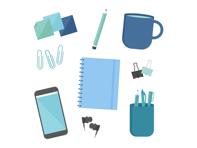 Day 4 - 366 Days of Illustration Challenge - MintSwift phone headphones sticky notes binder clip pencil mobile phone notebook paper clip mug illustrations icon icon design mintswift flat design flatdesign vector illustrator illustration