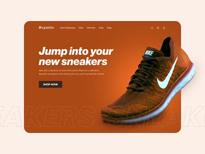 Footwear e-commerce concept trendy lifestyle oragne gradient website ux fall season typography web design uiux sneakers shoes e-commerce graphic design branding ui
