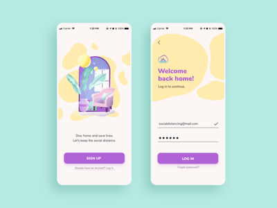 Stay Home - Login/SignUp illustration debut welcome figma adobexd dailyuichallenge signup login app stayhome 001 dailyui 001 dailyui
