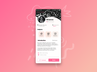 User Profile - Tutoring App user profile app screen 006 blackandwhite pink figma screen mobile app dailyuichallenge dailyui 006 dailyui