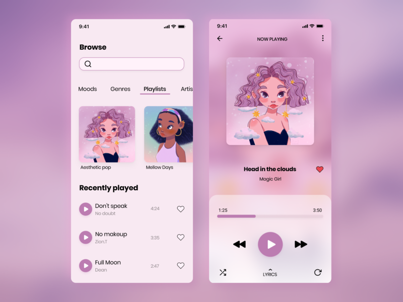Daily UI #009 - Aesthetic music player illustration soft aesthetic music app design music player app music app music player 009 dailyui009 design mobile dailyuichallenge figma dailyui