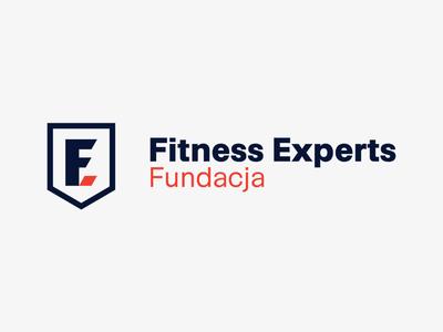 Fitness Experts Foundation — Logo & Construction support charity foundation vector shield f letter gym fitness brandbook minimalism logo branding design