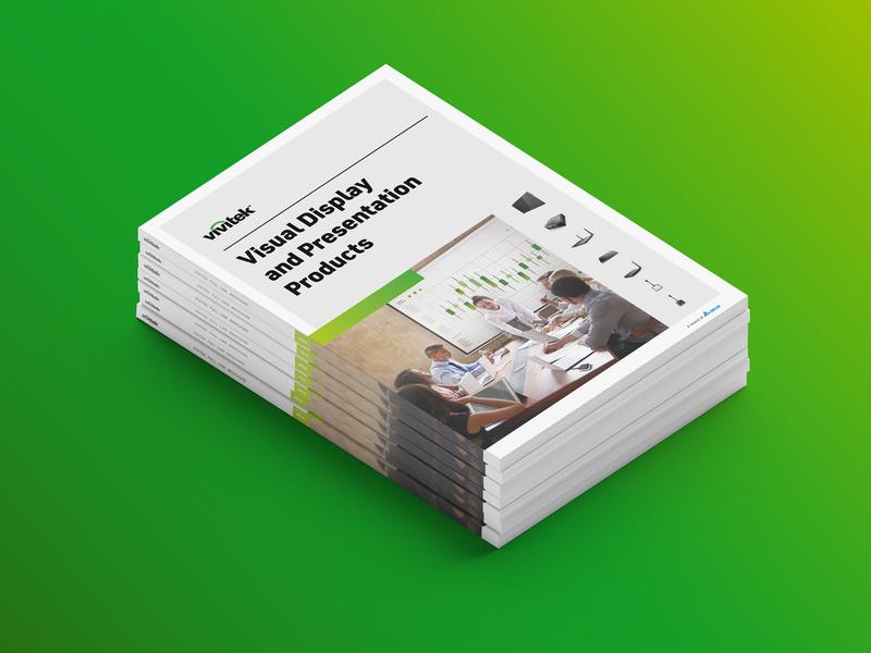 Vivitek — Visual Display and Presentation Products gradient colorful minimalism logo display presentation screen branding book catalog print design