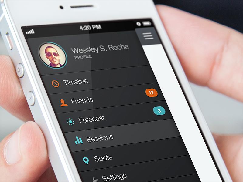 Glassy App Menu hamburger basement ios app iphone mobile menu list icons surf sports profile