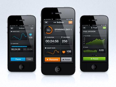 Sports tracking app mock-ups iphone ui interface running ios heartbeat progress