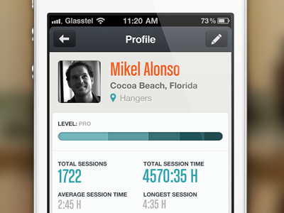 glassy.pro profile surf surfing iphone ios interface ui ux session track rating wave swell forecast sports