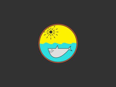 Daily UI - 001 - Shark ocean sun blue circle shark