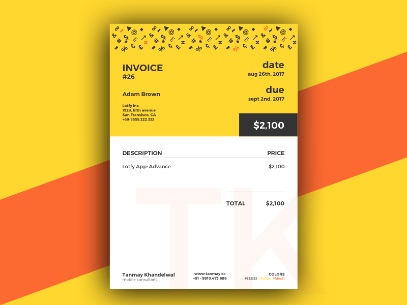 Invoice Template account book consultant yellow pattern money dollar milestone payment client invoice