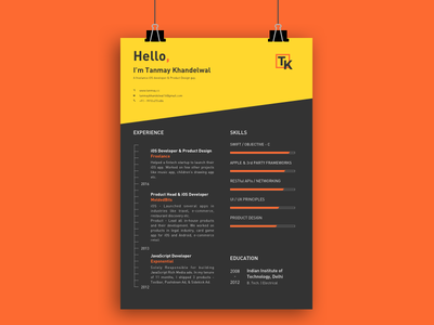 Personal Resume (Curriculum Vitae - CV) curriculum vitae education experience skills developer freelance profile cv resume