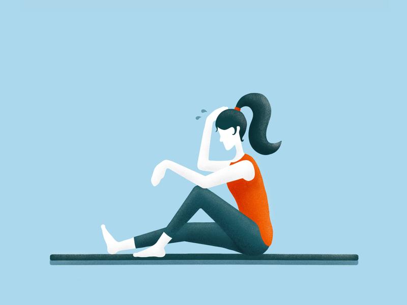 Lockdown Hobby #4 - Online Workouts fitness workout self portrait people character illustrator procreate ipad pro illustration drawing digital art