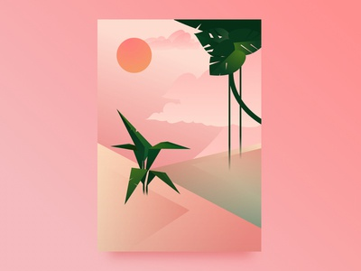 Poster illustration made in Sketch geometric pink gradient sketch illustration poster art deco