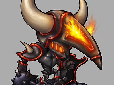 Dr. Deathknight character characterdesign comic illustration painting photoshop cs6 flames light knight horns game