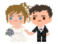 Pixel Bride and Groom