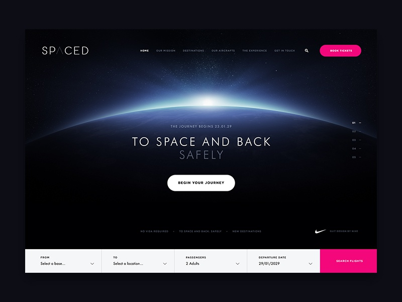 SPACED Challenge Entry inspiration flat ux ui travel spacedchallenge spaced space moon homepage design dark