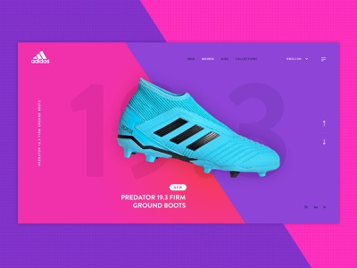 Adidas Predator predator vibrant colours branding boots adidas concept football website digital clean ui ux design