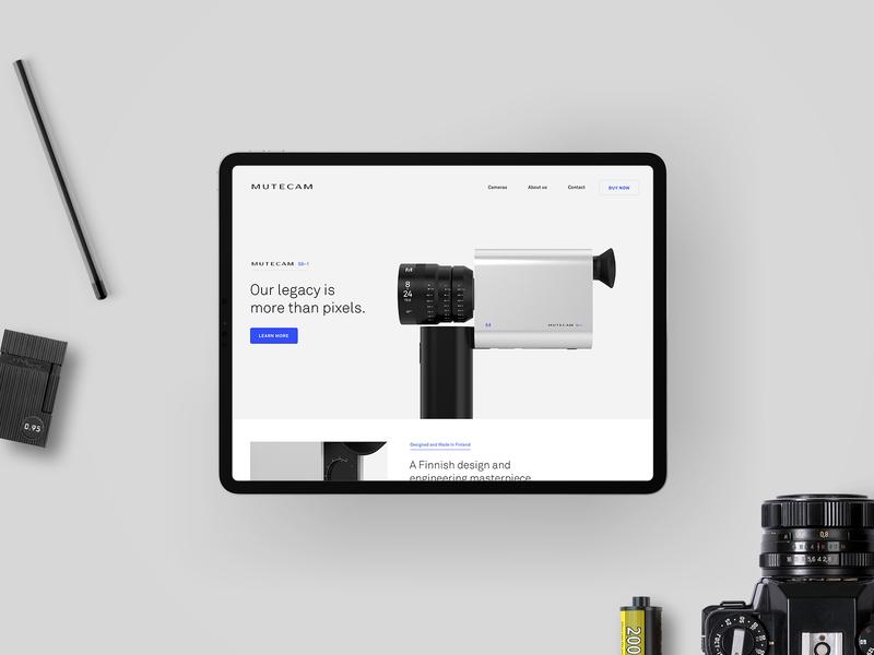 Mutecam film camera product ui ux web design typography logo identity branding 3d