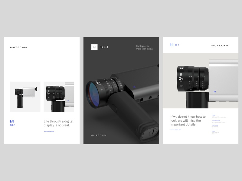 Mutecam emblem concept product film camera poster 3d typography logo branding identity