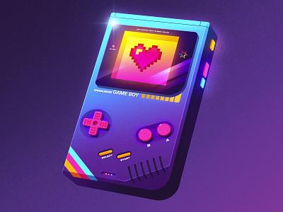 Game Boy illustrator photoshop vaporwave retrowave synthwave 1980s retro illustration design art