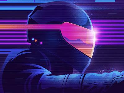 The Rider photoshop illustrator outrun 1980s 80s vaporwave synthwave retrowave retro illustration design art