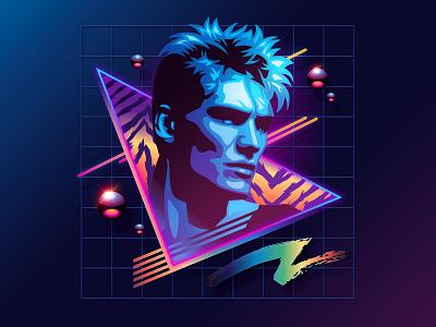 Dolph Lundgren signalnoise illustrator photoshop outrun vaporwave synthwave retrowave 1980s retro illustration design art