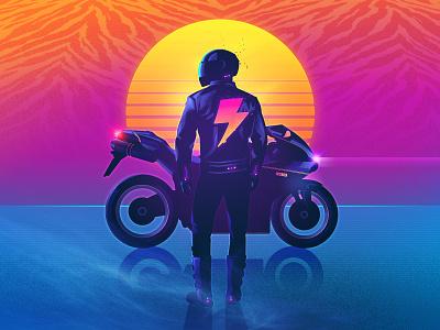 The Rider signalnoise photoshop illustrator outrun vaporwave synthwave retrowave 1980s retro illustration design art