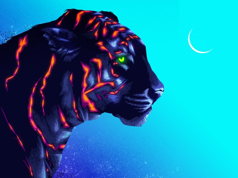 Inverted Tiger signalnoise illustrator photoshop outrun vaporwave synthwave retrowave 1980s retro illustration design art