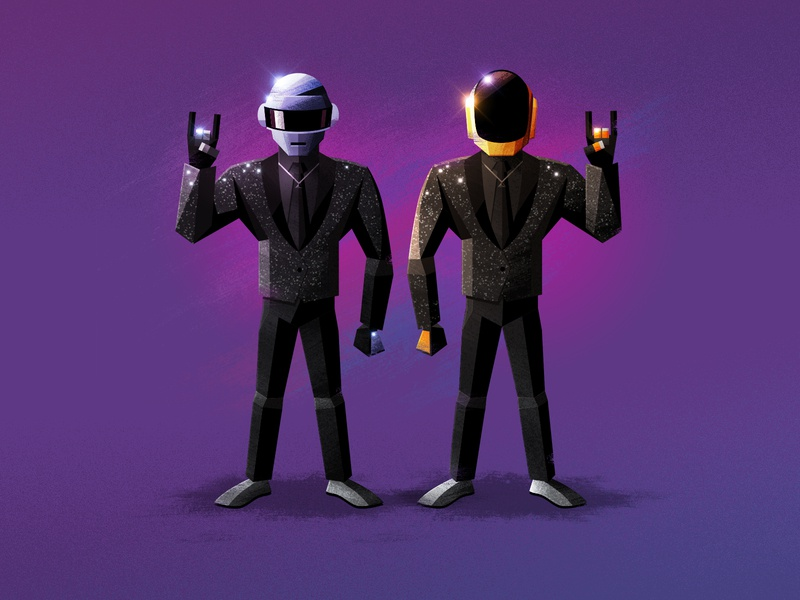 Daft Punk daftpunk signalnoise photoshop illustrator outrun vaporwave synthwave retrowave 1980s retro illustration design art